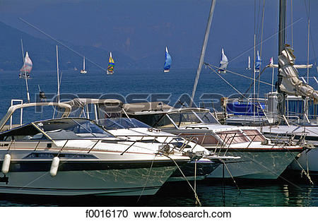 Stock Photography of France, Alps, le Bourget lake, sailing boats.