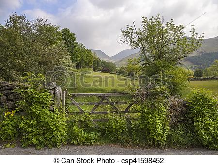 Stock Images of Pretty view with farm gate, Grasmere, The Lake.