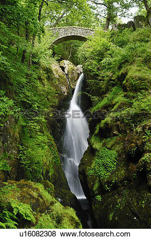 Pictures of England, Cumbria, Glenridding. Aira Force waterfall on.