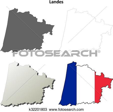 Clipart of Landes, Aquitaine outline map set k32201803.
