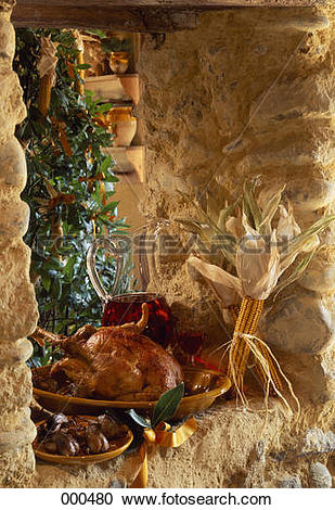 Stock Photography of Roast capon from the Landes 000480.