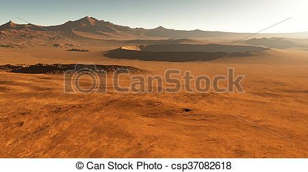 Clipart of Dust storm on Mars. Sunset on Mars. Martian landscape.