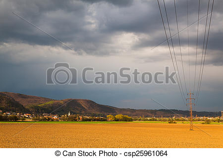 Stock Image of Autumn landscape before heavy storm at sunset.