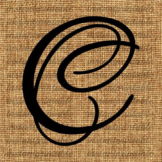 Monogram, Initial Letter C, Letter Clip Art, Letter Decal.
