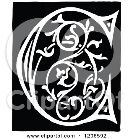 Letter C Monogram Clipart.