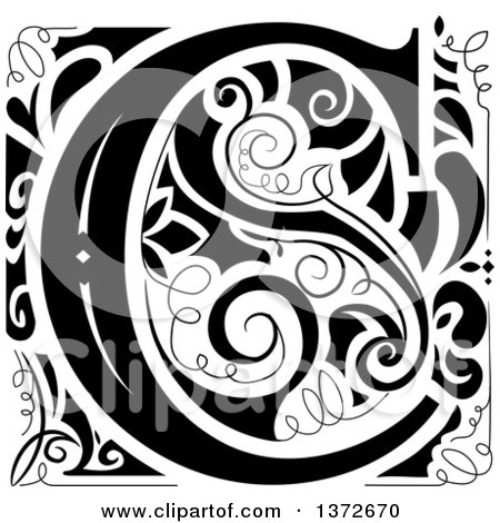 Clipart of a Black and White Vintage Letter C Monogram.