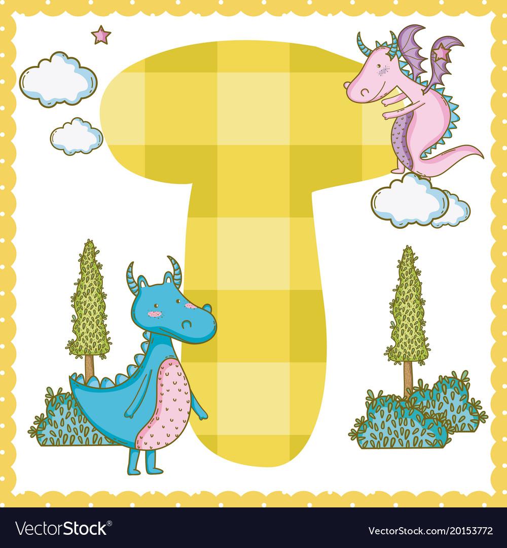 T alphabet letter for kids.