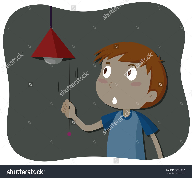 Boy Turning Off Light Illustration Stock Vector 327219338.