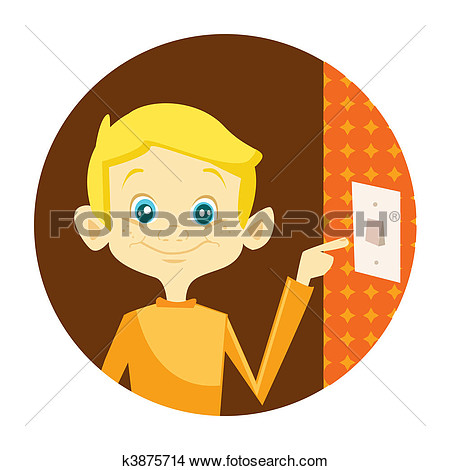 Girl turning off the lights clipart.