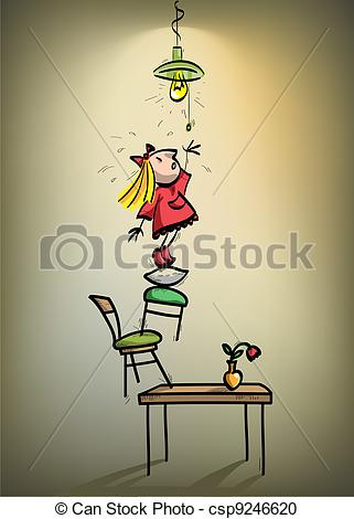 Vector Clipart of a little girl trying to turn off the lights.