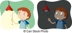 Vectors Illustration of Boy turning off the light illustration.