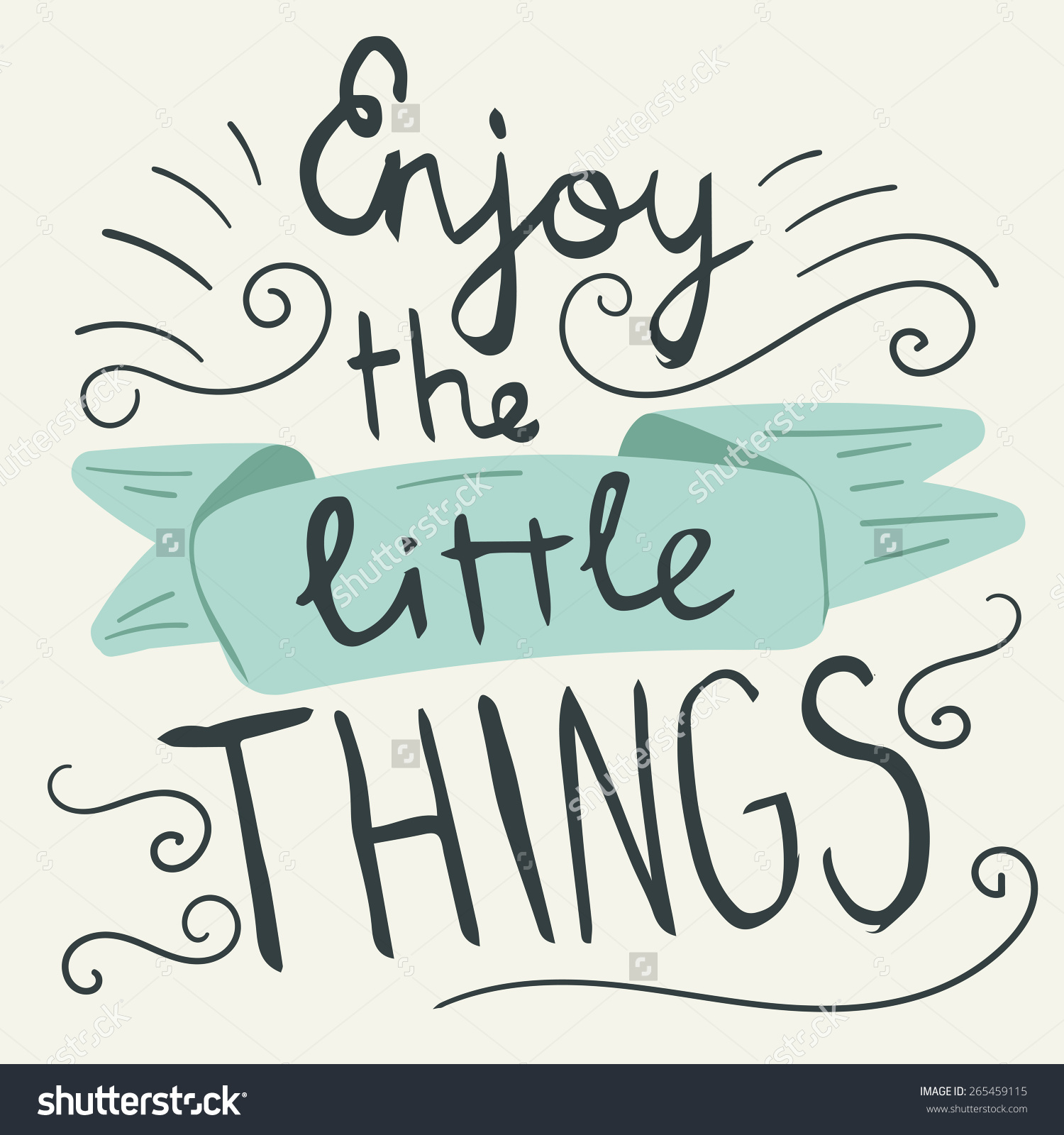 Enjoy Little Things Hand Lettering Quote Stock Vector 265459115