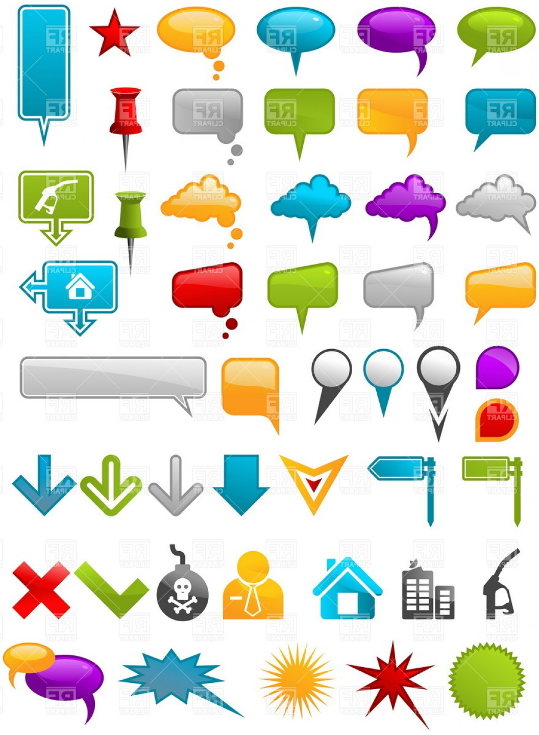 Excellent Message Containers And Map Location Pointers Icons.