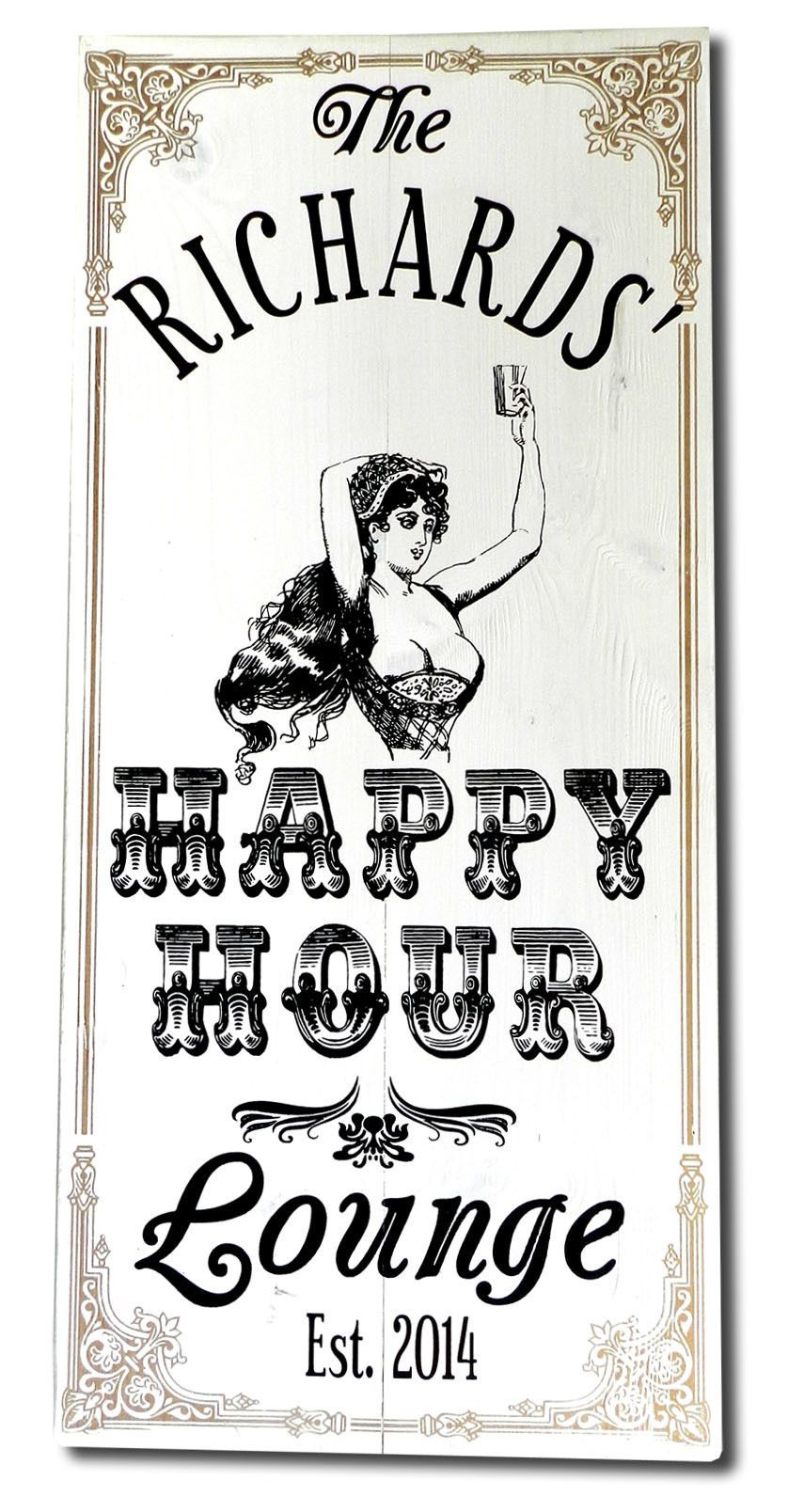 Personalized Happy Hour Lounge Vintage Style Sign.