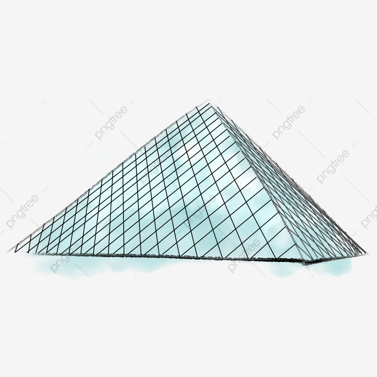 Louvre Glass Pyramid Hand Drawn Glass Pyramid Of The Louvre.