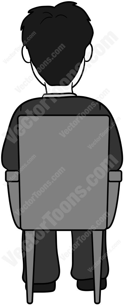 Back view of a balding man sitting in a chair #back #back.