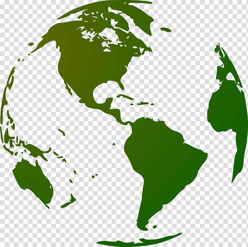 Earth Globe World map, Green Earth transparent background.