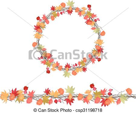 Vector Clip Art of Round season wreath with maple leaves and twigs.