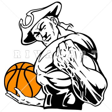 Mascot Clipart Image of A Strong Patriots Basketball Player.