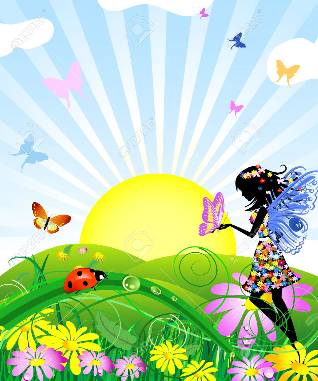 Flower Fairy With Butterflies In The Meadow Royalty Free Cliparts.