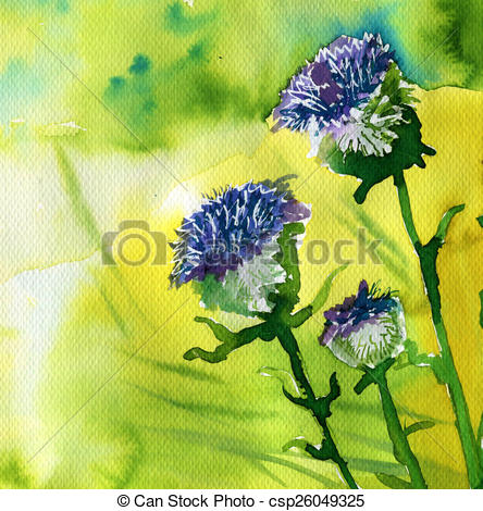 Clip Art of watercolor illustration depicting spring flowers in.