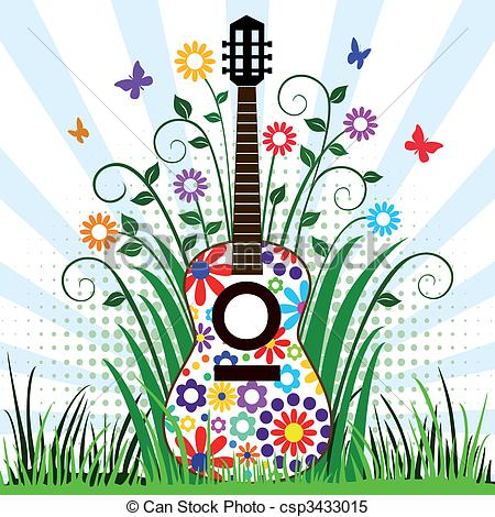 Clipart Vector of Guitar in the meadow.