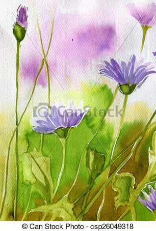Clipart of watercolor illustration depicting spring flowers in the.
