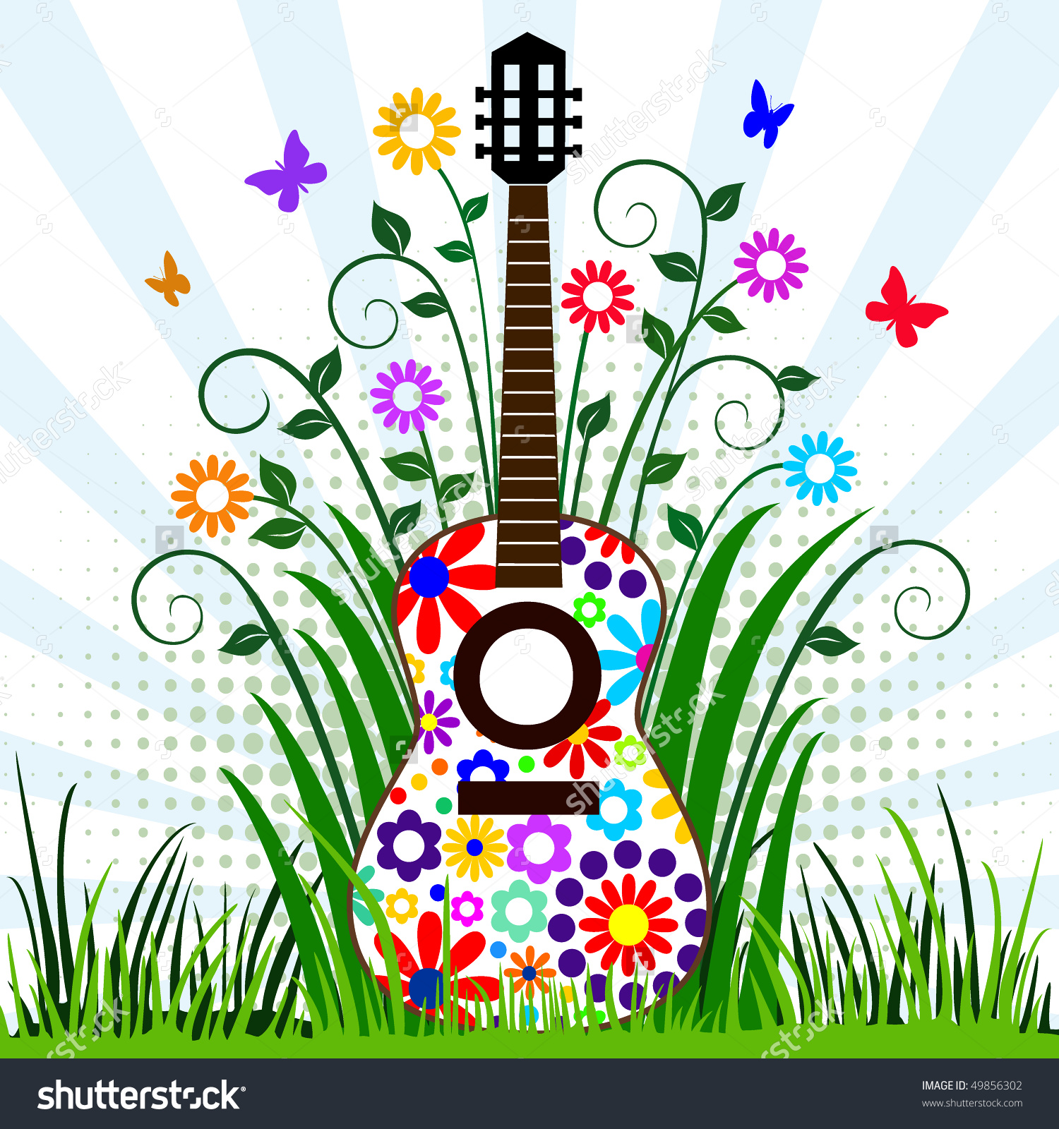 Guitar Meadow Stock Vector 49856302.