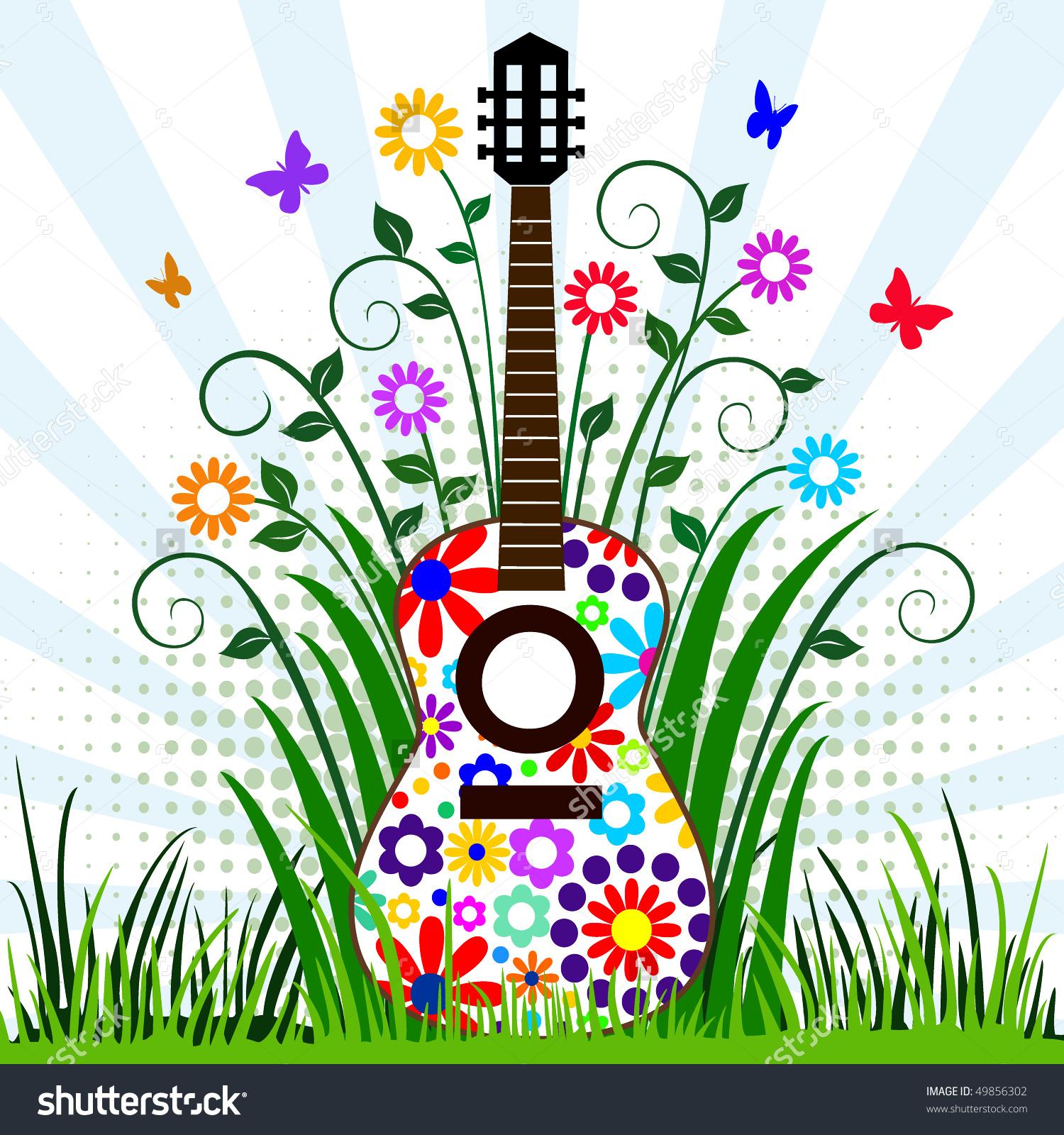 Guitar Meadow Stock Vector 49856302.