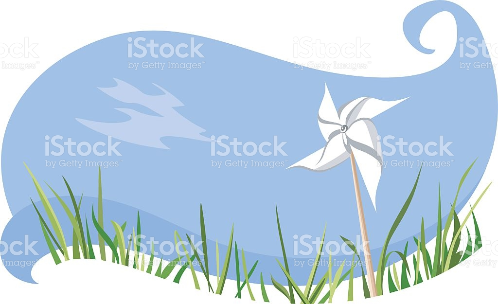 Windmill In The Meadow stock vector art 483895224.