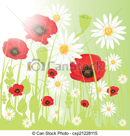Vector Clip Art of Colorful flowers on the meadow..