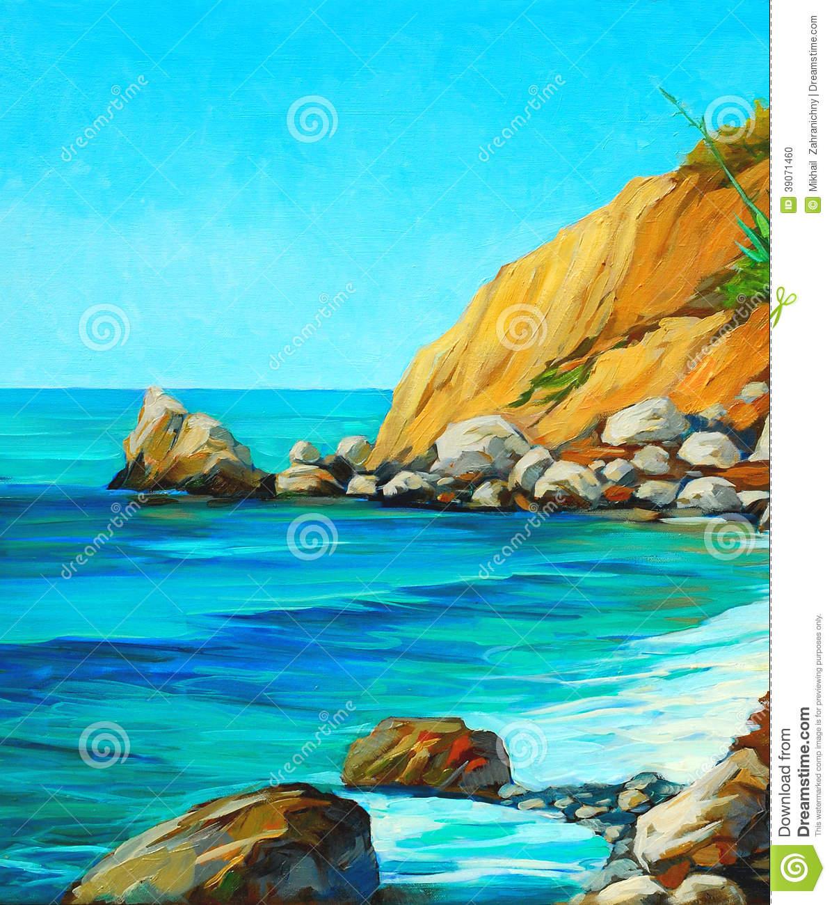 Landscape Of Mediterranean Sea With Beach Stock Illustration.