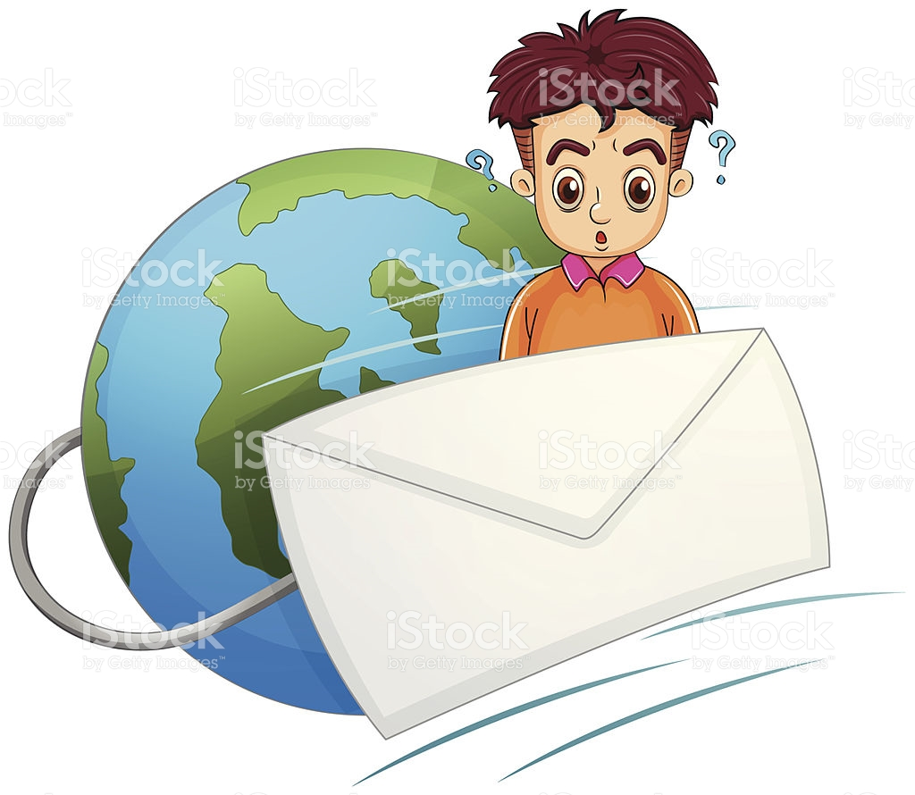 Man Thinking In The Middle Of Envelope And Globe stock vector art.