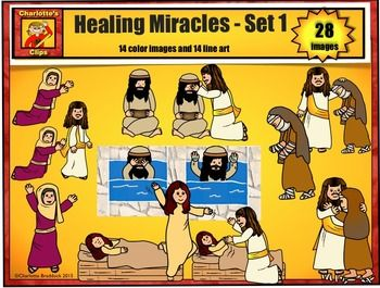 Healing Miracles of Jesus Clip Art set 1: Bible Series by.