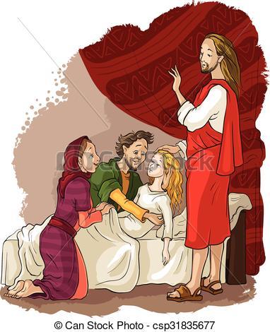 Vectors Illustration of Miracles of Jesus. Raising of Jairus.