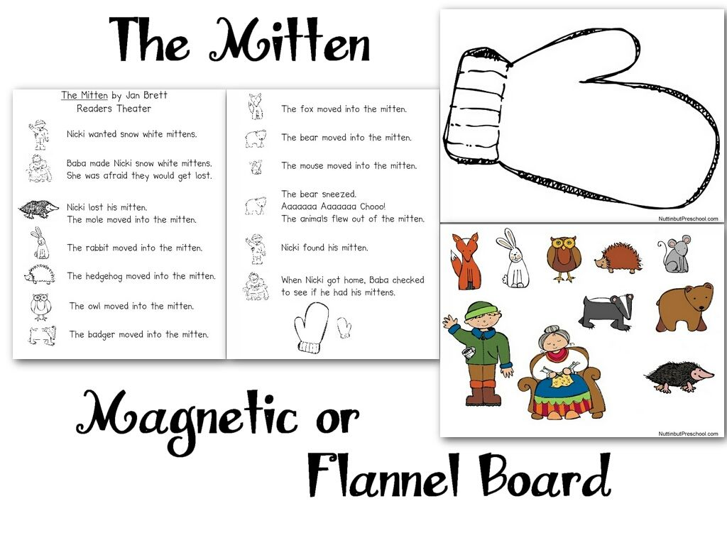Download and print The Mitten flannel board patterns below.