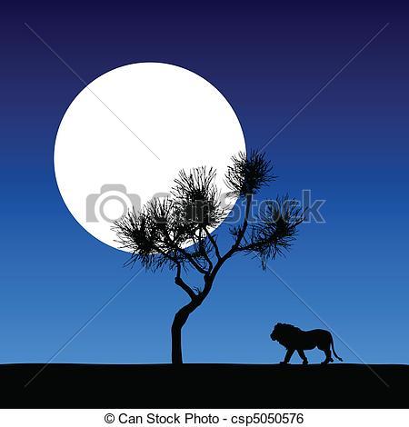 Clip Art Vector of lion in the moonlight vector illustration.