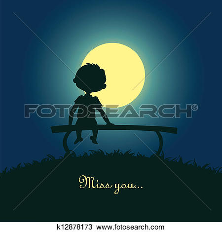 Clipart of Boy sitting lonely in the moonlight k12878173.