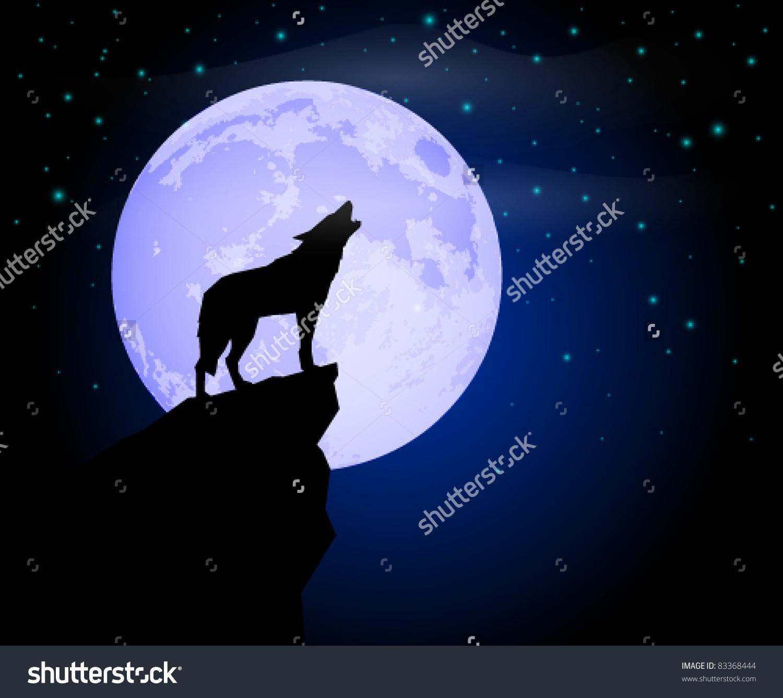 Wolf Howling Moonlight Stock Vector 83368444.
