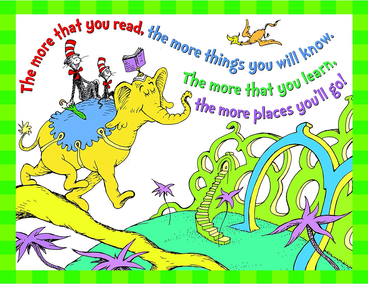Eureka Dr.Seuss Cat in The Hat \'More You Read\' Classroom, 17\'\' W x 22\'\' H.