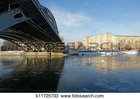Stock Photo of Moscow River, Andreyevsky Bridge and promenade on a.