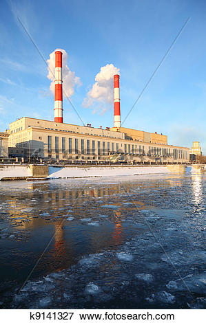 Picture of Thermal power station on Moscow River, pipes and smoke.