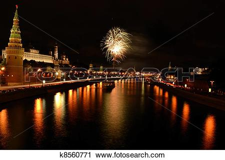Stock Photography of Firework obave the Moscow river k8560771.