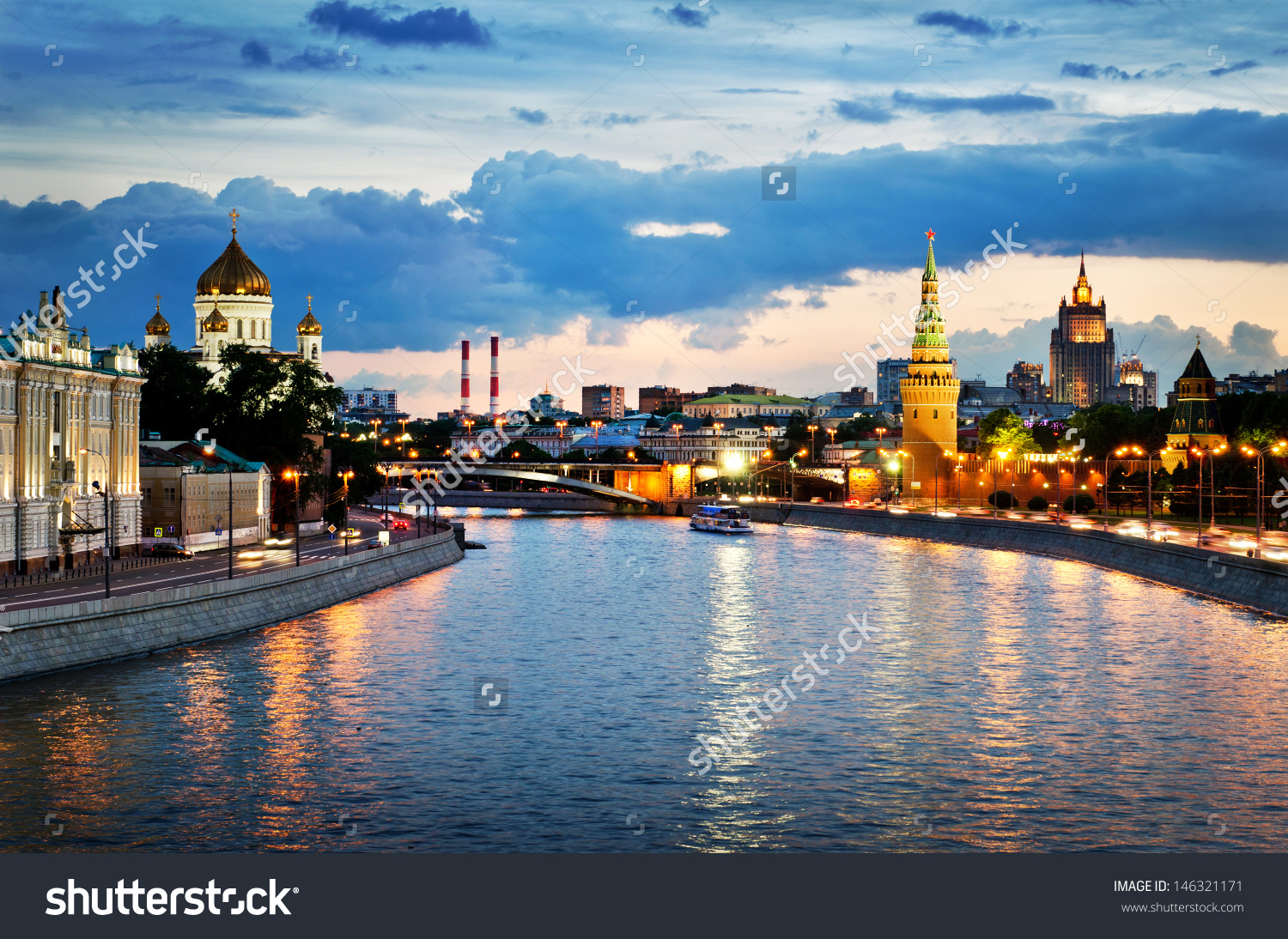 Russia Moscow Night View Moscow River Stock Photo 146321171.