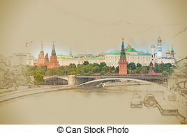 Moscow river and the kremlin Clip Art and Stock Illustrations. 30.