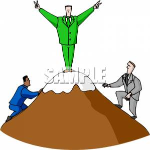 Businessman Playing King of the Mountain Clip Art Image.