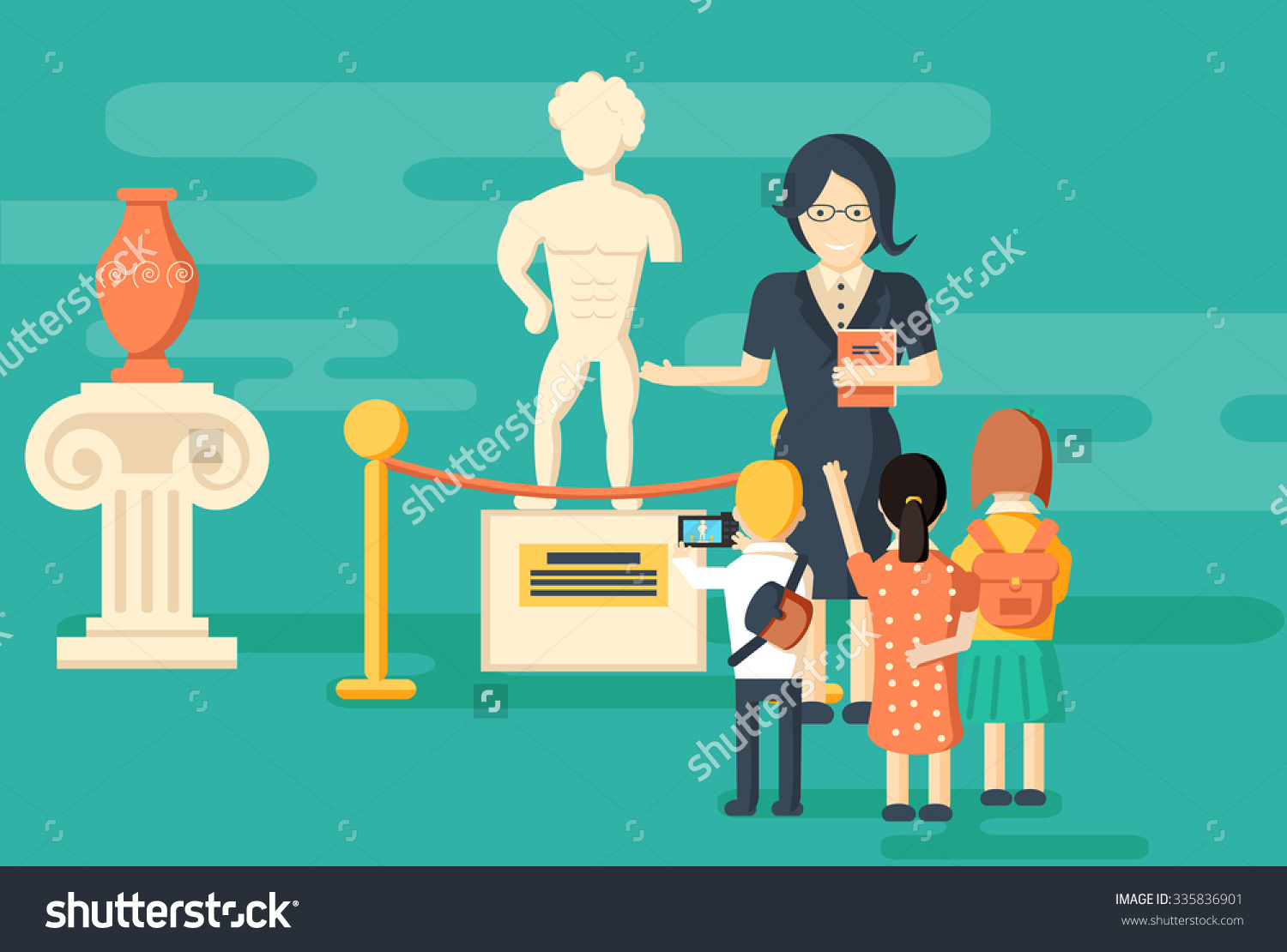 Kids On Excursion Museum Teacher Background Stock Vector 335836901.