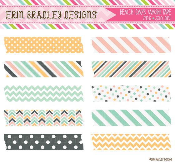 Erin Bradley Designs: New Beach Days Clipart & Digital Paper.