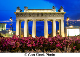 Stock Photography of Narva triumphal gate at Stachek Avenue in St.