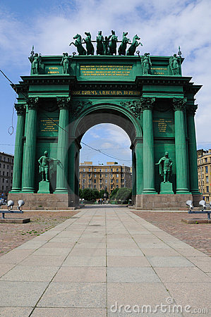 Narva Triumphal Arch At Night In Saint Petersburg, Russia Stock.